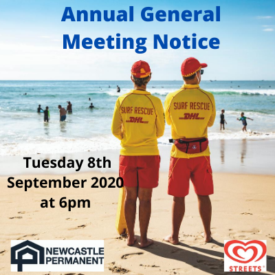 Hunter Surf Lifesaving's 102nd Annual General Meeting will be held on  Tuesday 8th September 2020 at 6pm via zoom. Zoom invitation link will be sent out to all Club's for attendance.